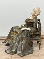 Important Art Nouveau Bronze Marble Seated Lady Sculpture By Xavier Raphanel (23 of 39)
