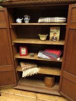 Antique Oak Linen Cupboard, Housekeepers Cupboard Larder with Shelves (8 of 16)