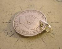 Vintage Pocket Watch Chain Fob 1950 Lucky Silver Sixpence Old 6d Coin Fob (6 of 8)