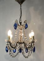 Vintage French Chandelier 4 Arm Crystal Ceiling Light with Sapphire Blue Glass (2 of 13)
