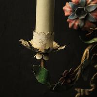 French Pair of Toleware Floral Wall Lights (5 of 10)