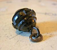 Antique Pocket Watch Chain Fob 1890s Victorian Black Vulcanite Ball Fob (4 of 7)