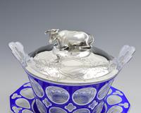 Early Victorian Blue & White Overlay Glass Butter Dish Silver Cow Cover (7 of 15)