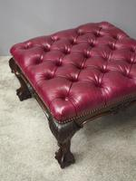 George III Style Mahogany and Leather Upholstered Centre Stool (2 of 8)