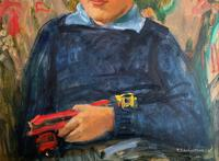 'Boy with Toy' Thomas Sherwood La Fontaine Superb Oil Portrait Painting (7 of 13)