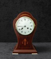French Art Nouveau Mahogany Inlaid Mantel Clock