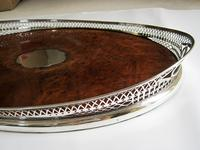 Victorian Oval Silver & Inset Walnut Gallery Tray (11 of 11)