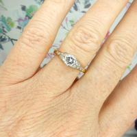 Art Deco 18ct Platinum Old Cut Diamond Solitaire Engagement Ring 0.35ct c.1920 (2 of 11)