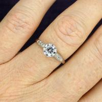 Art Deco Platinum old European cut diamond solitaire engagement ring 0.65ct ~ With appraisal & valuation (2 of 11)