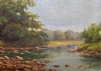 Beautiful Original 1921 Antique Riverscape Landscape Oil Painting (7 of 10)