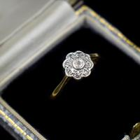 Vintage Diamond Cluster Flower Daisy 18ct 18K Yellow Gold Ring (10 of 10)