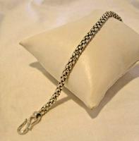 "Vintage Silver 925 Popcorn Bracelet 1970s Big Shepherds Hook Clasp 7 3/4"" Length (6 of 11)"
