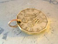 Vintage Pocket Watch Chain Fob 1940 WW2 King George V1 Threpenny Bit Coin Fob (7 of 7)