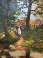 John Barter Lovely 19th Century Oil Painting 'Crossing the Stones' (7 of 14)