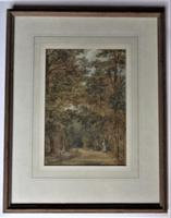 Mary Smirke - Girls on a Woodland Path, Watercolour, Framed