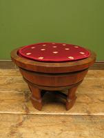 Antique Chinese Wooden Stool with Red Cushion (8 of 13)