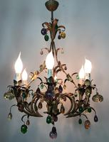 Murano Glass Fruit Venetian 6 Arm Toleware Ceiling Light Chandelier (6 of 9)