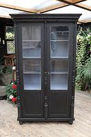 Fabulous Old Pine / Black Painted Glazed Cupboard / Display Cabinet - We Deliver! (2 of 12)