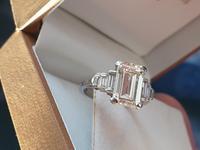 Vintage Deco Design 2.81 Carat Emerald Cut Diamond & Platinum Ring (9 of 10)