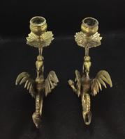 Pair of Brass Antique Dragon/Griffin Candlesticks. (4 of 5)