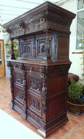 Country Oak Court Cupboard 1800 Superb Carving (9 of 12)