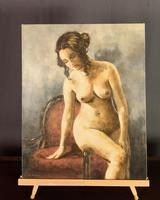 Mid Century Signed Oil on Canvas Female Nude (5 of 6)