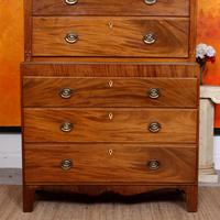 Chest on Chest of Drawers 19th Century Inlaid Mahogany (10 of 11)