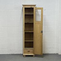 Tall Slim Partly Glazed Old Pine Cupboard (2 of 5)