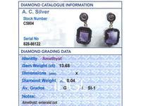 13.68ct Amethyst, 0.04ct Diamond & 18ct White Gold Drop Earrings - Vintage c.1940 (8 of 9)