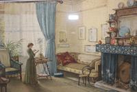 Antique Original Watercolour - Lady Reading - Mary Sophia Godlee 1860-1932 (4 of 5)