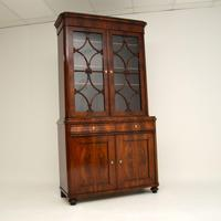 Antique French Walnut Bookcase on Cupboard