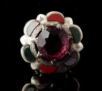 Victorian Scottish Agate & Amethyst Brooch, Sterling Silver (2 of 11)