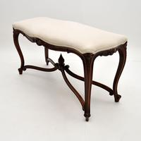 Antique French Carved Walnut Stool / Window Seat (3 of 8)