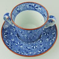 Pearlware Pottery Blue & White Transferware Loving Cup & Saucer c.1810 (3 of 8)