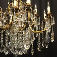 French 12 Light Gilded Bronze Antique Chandelier (4 of 10)