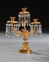 Pair of Early 19th Century Gilt Bronze and Lustres Three Branch Candelabra (5 of 8)