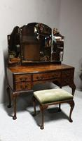 Queen Anne Burr Walnut Dressing Table & Stool