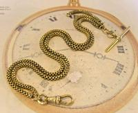 Victorian Pocket Watch Chain 1890s Antique Brass Double Albert With T Bar (2 of 11)
