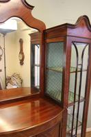 Antique Quality Shaped Mahogany Mirror Back Display Cabinet (2 of 7)