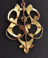 Antique Art Nouveau Lavalier Pendant, Ruby & Pearl, 9ct Gold (9 of 10)
