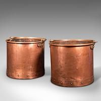 Pair of Antique Fireside Bins, English, Copper, Coal, Fire Bucket, Victorian (3 of 12)