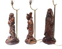 Set Hand Carved Chinese Buddha Lamps Antique Lights Figurines 1880 (12 of 16)