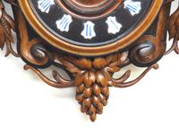 Rare Antique French Carved Dial Wall Clock 8 Day Movement Dial Black Forest Design (5 of 10)