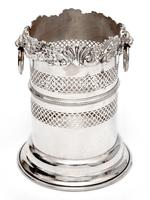 Silver Plated Bottle Stand with a Shell and Floral Top Border and Lion Ring Handles (2 of 4)