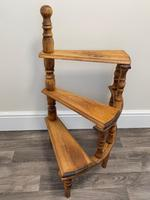 Victorian Style Light Oak Library Spiral Curved Step Ladder Stand (3 of 24)