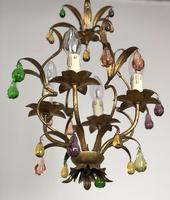 Vintage French Gilt Toleware & Murano Style Chandelier (8 of 13)