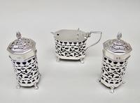 Stunning Edwardian Silver Three Piece Condiment Set by Charles Horner, Birmingham 1903 (2 of 8)