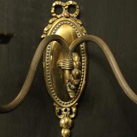French Brass Twin Arm Antique Wall Lights (8 of 10)