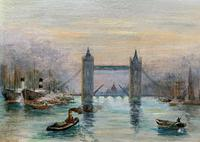 Superb Original 1921 View of Tower Bridge London Seascape Oil Painting (6 of 12)
