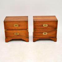 Pair of Antique Military Campaign Yew Wood Bedside Chests (2 of 9)